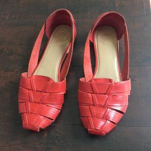 UO Ecote Huarache Red Orange Leather Flats